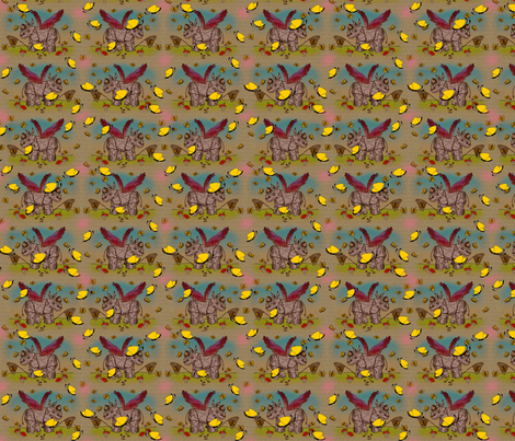 © 2011 Rhino and Butterflies Again fabric by glimmericks on Spoonflower - custom fabric