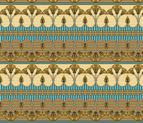 Egyptian ornate lily border fabric by cjldesigns on Spoonflower - custom fabric