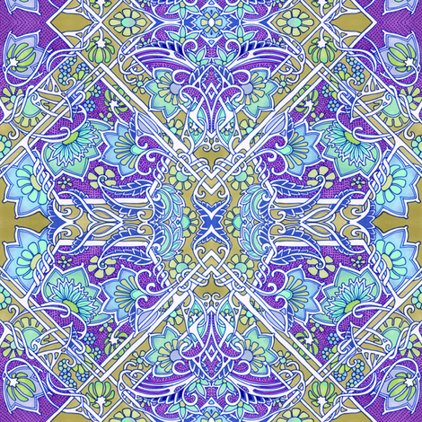 Purple and Brass Heart and Flower Meadow fabric by edsel2084 on Spoonflower - custom fabric