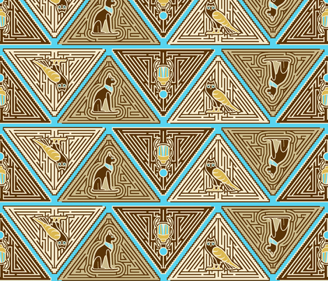 Egyptian pyramid maze blue fabric by cjldesigns on Spoonflower - custom fabric