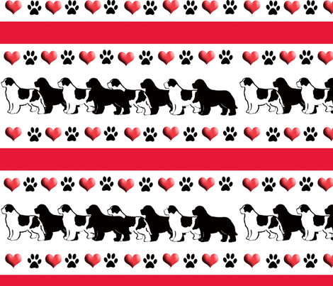 newf_hearts_and_paw_prints fabric by dogdaze_ on Spoonflower - custom fabric