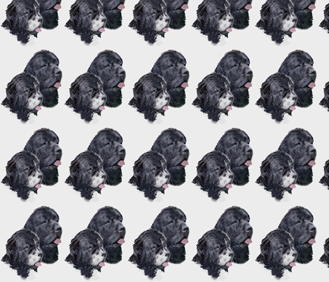 black_and_landseer_portrait fabric by dogdaze_ on Spoonflower - custom fabric