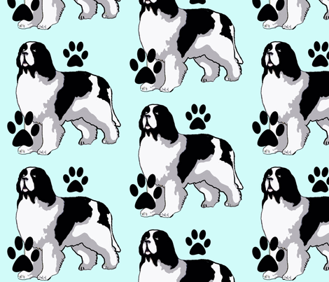Landseer Newfoundland dog with paw prints fabric by dogdaze_ on Spoonflower - custom fabric