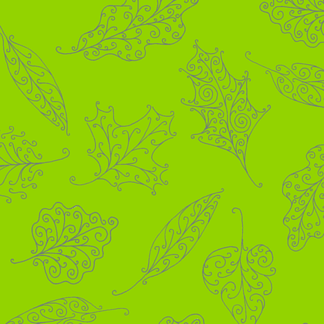 swirling leaves on green fabric by weavingmajor on Spoonflower - custom fabric