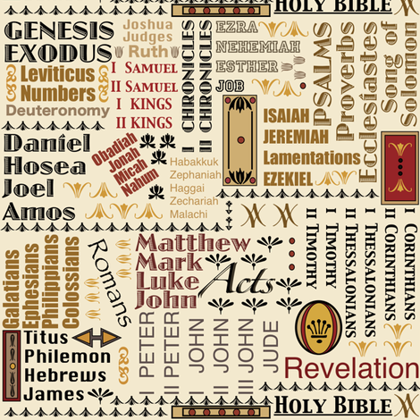 Books of the Bible fabric by petals_fair_(peggy_brown) on Spoonflower - custom fabric
