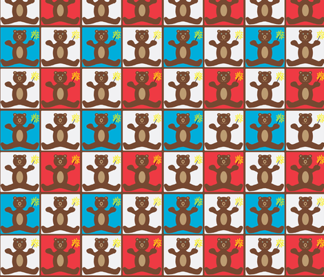 Patriotic Firework Bears fabric by tylerstrain on Spoonflower - custom fabric
