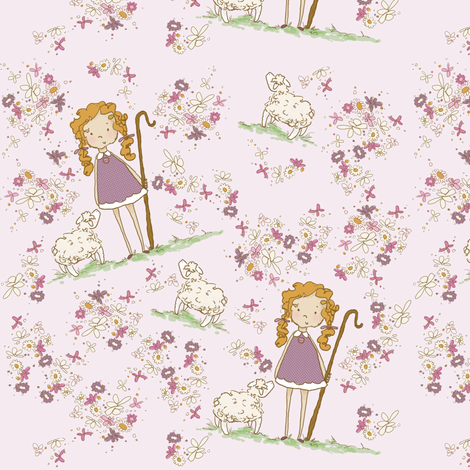 Plum Bo Peep fabric by pocketful_of_pinwheels on Spoonflower - custom fabric
