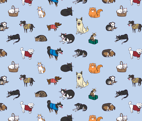 Cats and Dogs fabric by sheena_hisiro on Spoonflower - custom fabric