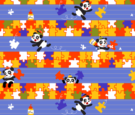 Puzzle Pandas fabric by irrimiri on Spoonflower - custom fabric