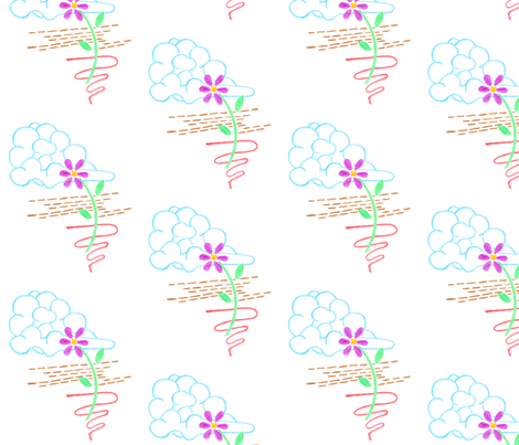 Flower and Cloud fabric by deborama on Spoonflower - custom fabric