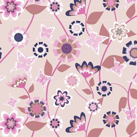 Folk Floral Pink fabric by kezia on Spoonflower - custom fabric