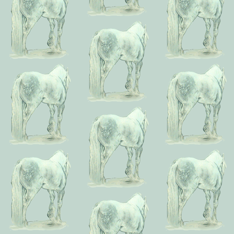 Gypsy Horse on blue-gray fabric by eclectic_house on Spoonflower - custom fabric