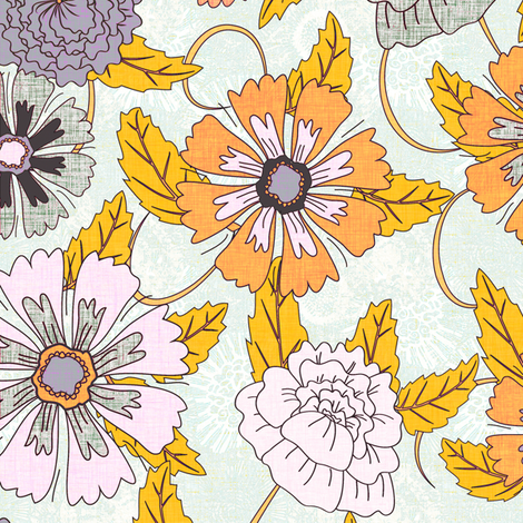Textured Floral fabric by kezia on Spoonflower - custom fabric