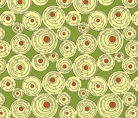 Maze in Green and Rust fabric by meduzy on Spoonflower - custom fabric
