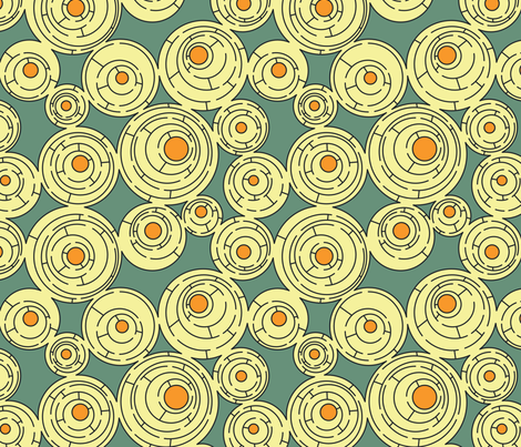 Maze in Turquoise and Orange fabric by meduzy on Spoonflower - custom fabric