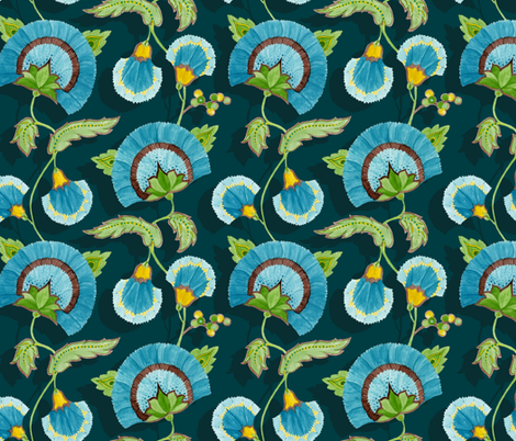 Marie - blue vine fabric by katrinazerilli on Spoonflower - custom fabric