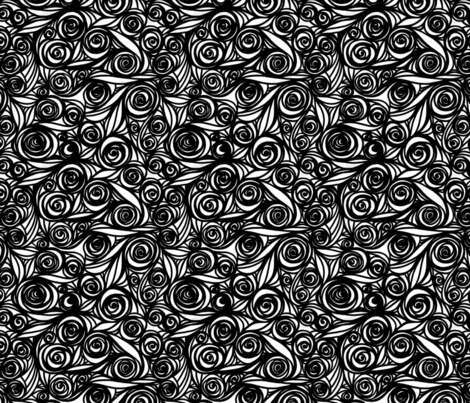 Repeating Abstract Black and White Roses fabric by sometimesiswirl on Spoonflower - custom fabric