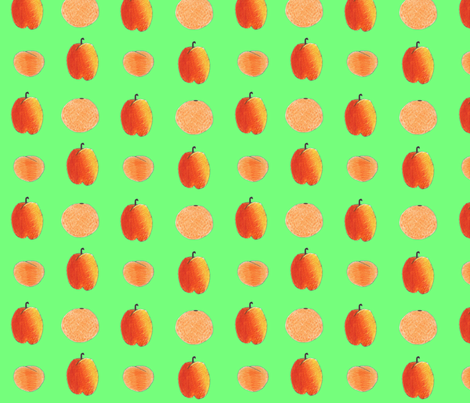 colored pencil fruits on green fabric by chickie on Spoonflower - custom fabric