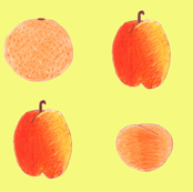 colored pencil fruits on yellow