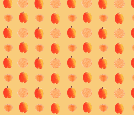 colored pencil fruits on peach fabric by chickie on Spoonflower - custom fabric