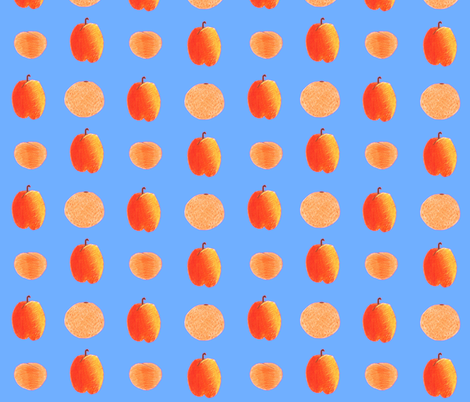colored pencil fruits on sky blue fabric by chickie on Spoonflower - custom fabric