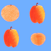 colored pencil fruits on sky blue