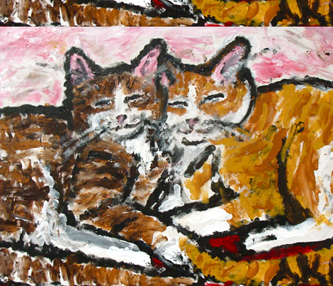 Two_Cats_Cuddling fabric by anne_k_abbott on Spoonflower - custom fabric