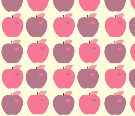 Purple Girly Apples fabric by anikabee on Spoonflower - custom fabric
