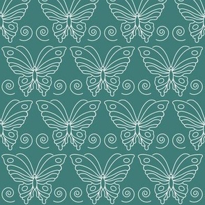 Butterfly-2 - white-lines on BLUEGREEN-175