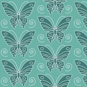 Butterfly drawing 2 -  dk bluegreen 175 on lt minagreen 170