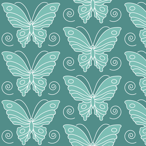 Butterfly drawing 2 -  lt minagreen 170 on dk bluegreen 175 fabric by mina on Spoonflower - custom fabric