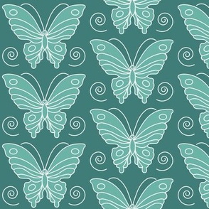 Butterfly drawing 2 -  lt minagreen 170 on dk bluegreen 175