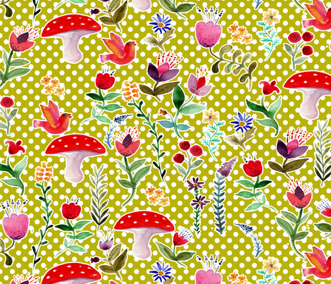 fleur des bois fond vert fabric by nadja_petremand on Spoonflower - custom fabric