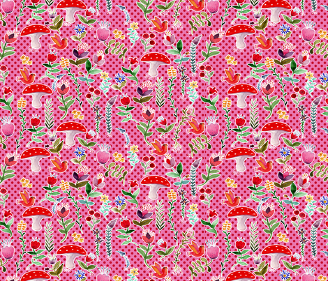 fleur des bois rose L fabric by nadja_petremand on Spoonflower - custom fabric