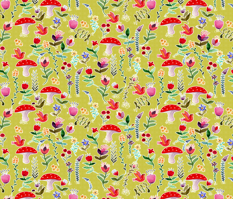 fleur des bois vert L fabric by nadja_petremand on Spoonflower - custom fabric