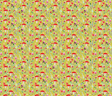 fleur des bois vert S fabric by nadja_petremand on Spoonflower - custom fabric