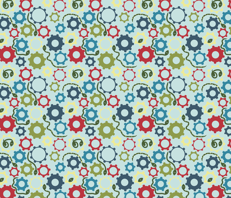 LaraGeorgine_Gear_Snake fabric by larageorgine on Spoonflower - custom fabric