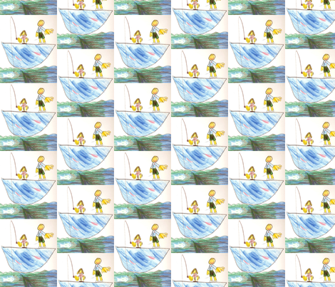 Girl Fishing With Dad fabric by schomms on Spoonflower - custom fabric