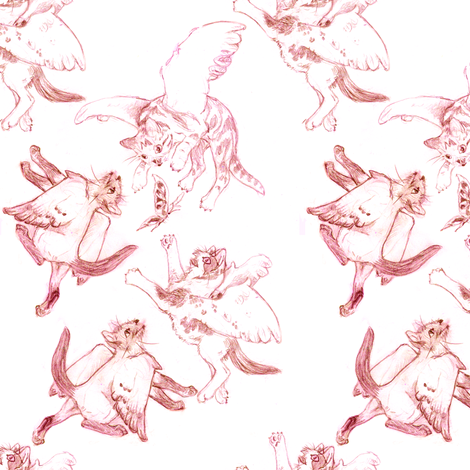 Owllykittens in pink fabric by eclectic_house on Spoonflower - custom fabric