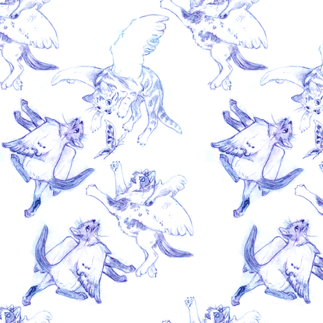 Owllykittens in blue fabric by eclectic_house on Spoonflower - custom fabric