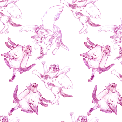 Owllykittens in magenta fabric by eclectic_house on Spoonflower - custom fabric