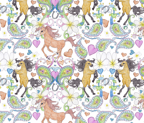 Cassie's Horses Age 10 fabric by twobloom on Spoonflower - custom fabric