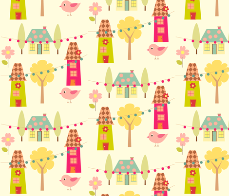 Happy Little Village fabric by anikabee on Spoonflower - custom fabric
