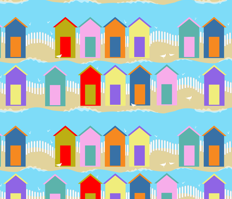 beach huts at high tide fabric by vo_aka_virginiao on Spoonflower - custom fabric