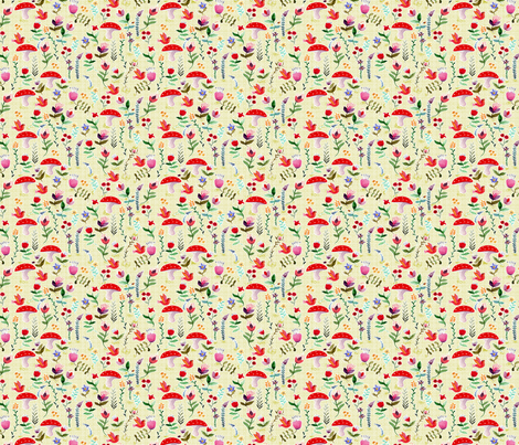 fleur des bois blanc S fabric by nadja_petremand on Spoonflower - custom fabric