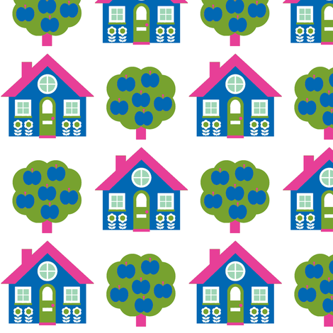 blue house fabric by aliceapple on Spoonflower - custom fabric