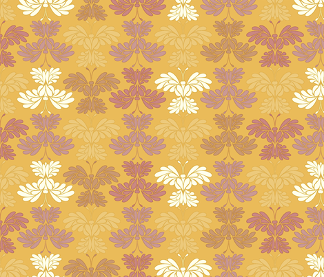 © 2011 Butterfly - Golden Chrysanthemum fabric by glimmericks on Spoonflower - custom fabric