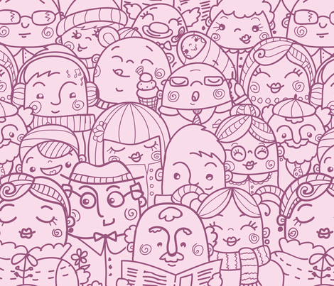 People In Crowd fabric by oksancia on Spoonflower - custom fabric