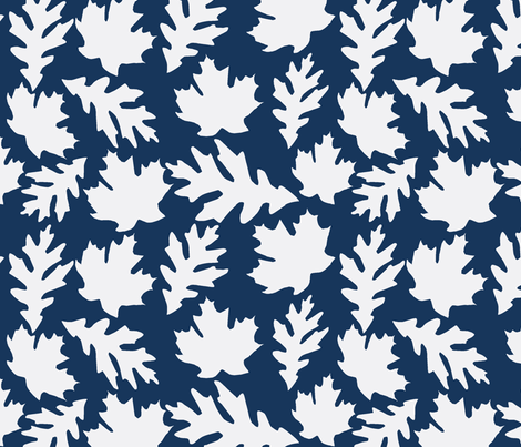 Falling leaves in Navy fabric by slkanitz on Spoonflower - custom fabric