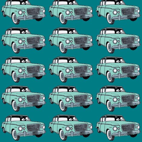 green_Studebaker Lark on teal in straight rows fabric by edsel2084 on Spoonflower - custom fabric
